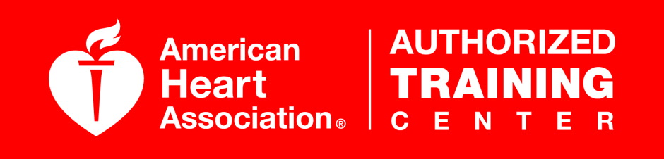 Picture of a red color American Heart Association Authorized Training Center Logo with white text