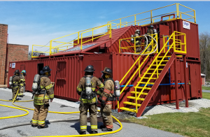 Photo of Firemen training at the State Fire School