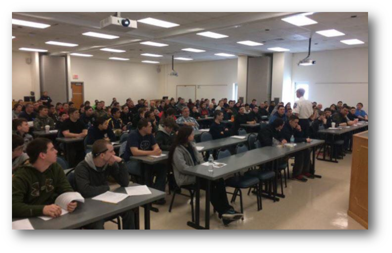 Photo  of seated students attending class at the Delaware State Fire School