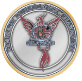 """Photo of Camp Fury Badge with the words """"Courage Confidence Character Fire School"""" Symbol"""
